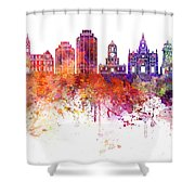 Halifax V2 Skyline In Watercolor Background Shower Curtain