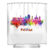 Halifax V2 Skyline In Watercolor Splatters With Clipping Path Shower Curtain