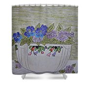 Hall China Crocus Bowl With Violets Shower Curtain