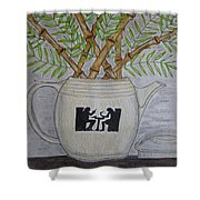 Hall China Silhouette Pitcher With Bamboo Shower Curtain