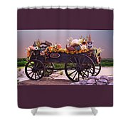 Halloween Cart Full Of Fall Harvest Goodies  Shower Curtain