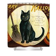 Halloween Greetings With Black Cat And Carved Pumpkins Shower Curtain