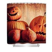 Halloween Pumpkins, Carved Jack-o-lantern. Shower Curtain