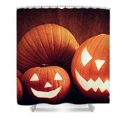 Halloween Pumpkins Glowing, Jack-o-lantern Shower Curtain