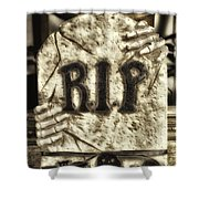 Halloween Rip Rest In Peace Headstone Shower Curtain
