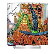 Halloween Scarecrow And Pumpkin Pa 02 Vertical Shower Curtain