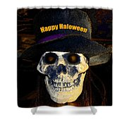 Halloween Skull With Hat Shower Curtain