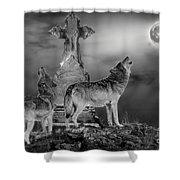 Halloween - Spirits Of The Wolf Shower Curtain