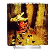 Halloween Trick Of Treats Background Shower Curtain