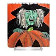 Halloween Witch And Pumpkin Art Shower Curtain