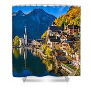 Hallstatt In Fall Shower Curtain