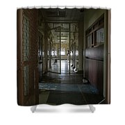 Hallway With Solitary Confinement Cells In Prison Hospital Shower Curtain