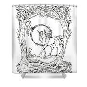 Haloed Unicorn In The Woods Shower Curtain