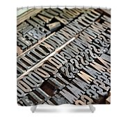 Hamilton Printing Press Letters Shower Curtain