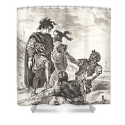 Hamlet And Horatio Before The Gravediggers (act V, Scene I) Shower Curtain