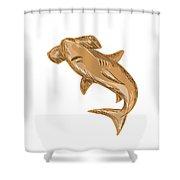 Hammerhead Shark Drawing Shower Curtain