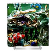 Hammerhead Shark Swimming Through New Abstract Coral Shower Curtain