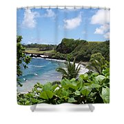 Hamoa Beach Tropical Hana Maui Hawaii Waves And Surfers Shower Curtain