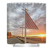 Hampton Beach Sunrise Hampton Beach State Park Hampton Nh Flag Shower Curtain
