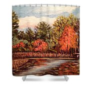 Hampton Ponds Fall Shower Curtain