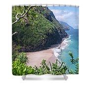 Hanakapiai Beach - Kalalau Trail - Kauai Hawaii Shower Curtain