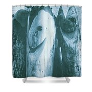 Hand Carved Fish Sculptures Shower Curtain
