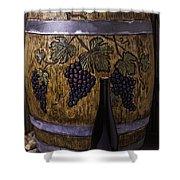 Hand Carved Wine Barrel Shower Curtain