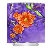 Hand Drawn Pencil And Watercolour Flowers In Orange And Purple Shower Curtain