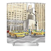 Hand Drawn Sketch Of A Busy New York City Street Shower Curtain