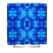 Hand-dyed Blue And Turquoise Fabric With Zig Zag Stitch Details  Shower Curtain
