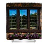 Hand Hewn Oak Frames Shower Curtain