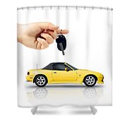 Hand Holding Key To Yellow Sports Car Shower Curtain