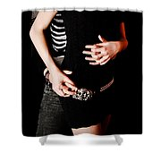 Hand Holding Shower Curtain