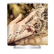 Hand Of A Woman Catching Water Stream Shower Curtain