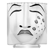 Hand On Face Mask B W Shower Curtain