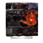 Hand On The Hole On The Wall Shower Curtain