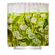 Hand Painted Picture, Meadow With White Dandelines Shower Curtain