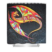 Hand Painted Silk Scarf Dragon On Black Shower Curtain