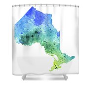 Hand Painted Watercolor Map Of Ontario, Canada In Blue And Green  Shower Curtain