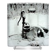 Hand Pump In The Winter Shower Curtain