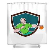 Handball Player Throwing Ball Crest Cartoon Shower Curtain