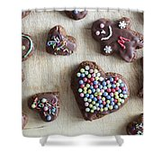 Handmade Decorated Gingerbread Heart And People Figures Shower Curtain