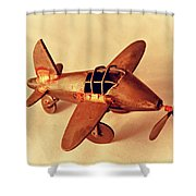 Handmade Metal Toy Plane Shower Curtain