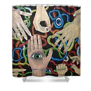 Hands And Eyes Shower Curtain