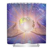 Hands With A Glowing Earth Shower Curtain