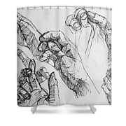 Hands With Line Pen Shower Curtain