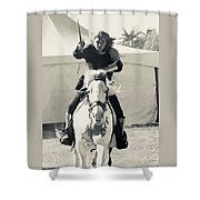 Handsome Knight Riding His Horse Shower Curtain