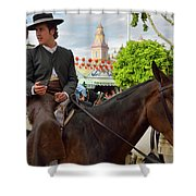 Handsome Man And Beautiful Woman Drinking On Horseback With 2015 Shower Curtain