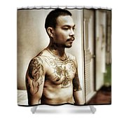 Handsome Man With Tattoos. #thailife Shower Curtain