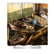 Handyman - Junk On A Bench Shower Curtain by Mike Savad